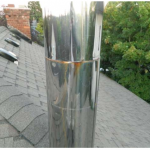Deficiency: Metal chimney shows signs of rust. Rust may perforate the chimney and allow flue gasses into the living space.